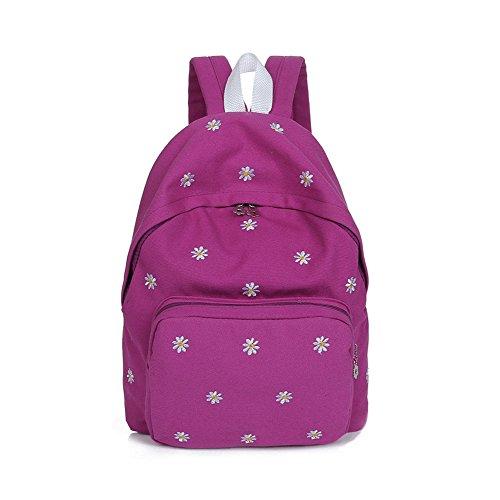 PyLios(TM) Fashion Girls Canvas Backpacks for Women Floral Daisy Embroidery School Bag Bolsa Rucksack Large Capacity Mochilas Femininas
