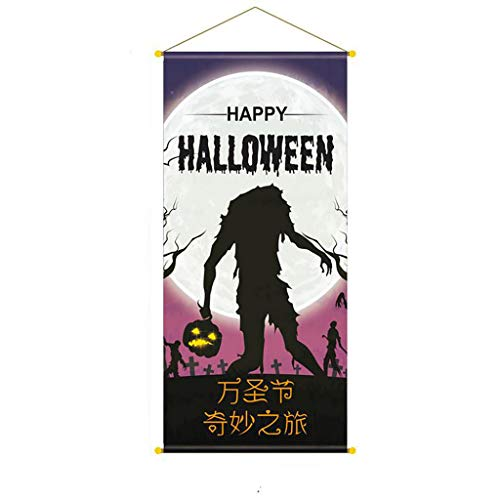 Cinema Halloween Party (Shan-S Halloween Flag,Halloween Background Poster Bar Party Cinema Background Hanging Flag, Home Outdoor Patio Seasonal Holiday Non Woven Fabric 92x42 cm Garden)