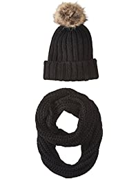 Women's Chunky Knit Beanie and Scarf Set