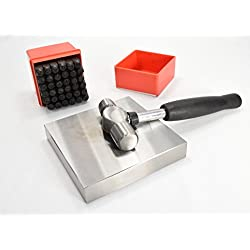 """1/4 inch (6 mm) Metal Stamping Kit   36pc Number and Capital Letter Punch Set with 4"""" x 4"""" Bench Block and Ball Pein Hammer"""