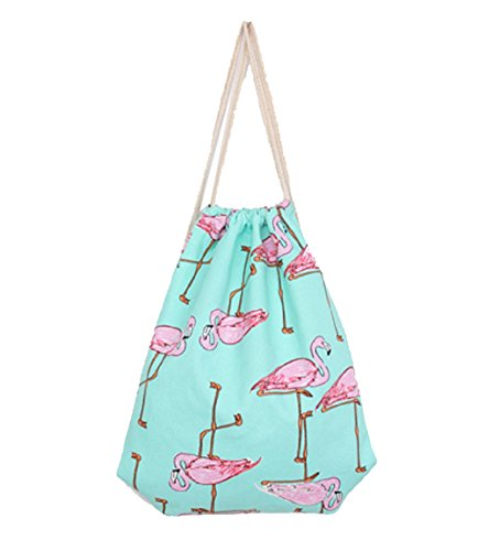 Hosaire Drawstring Bag Blue Bird Printing Folding Backpack Gym Sport Backpack Home Travel Sport Storage for Teen Young Girls For Sale