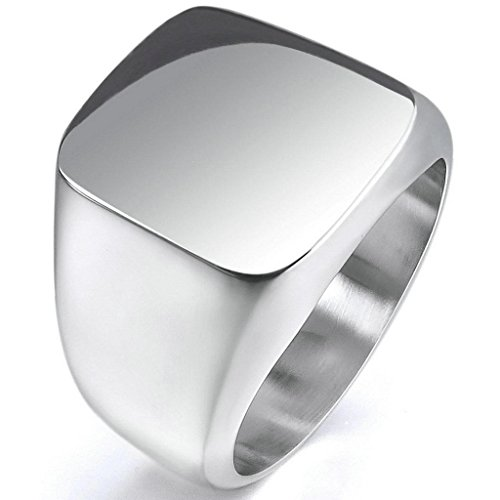 Epinki,Fashion Jewelry Men's Stainless Steel Rings Silver Signet Polished Biker Size - Does Extended Mean Sizes What