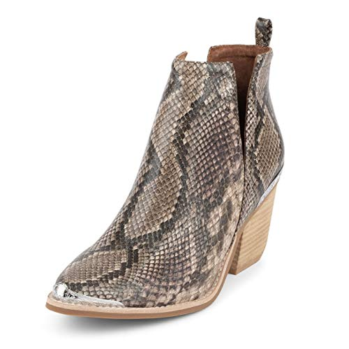 Jeffrey Campbell Cromwell Snake Embossed Leather Beige Brown Snake Boot 7