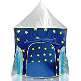 USA Toyz Rocket Ship Play Tent for Kids - Indoor Playhouse Pop Up Tent for Boys and Girls with Included Space Projector Toy and Storage Carry Bag