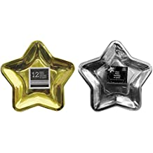 Star Shaped 9.6 Inch Foil Paper Party Plates, Set of 24 (Gold&SIlver)