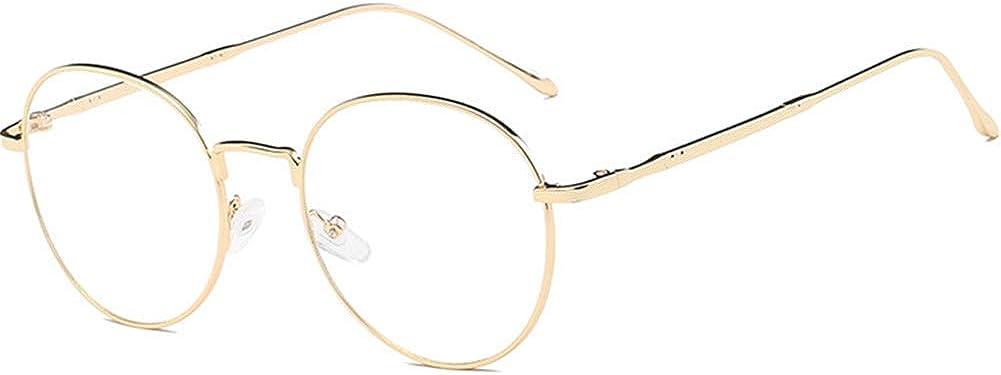 YUNCAT Metallrahmen Runde Brille Vintage Brille Transparente Brille mit Fensterglas Retro-60er f/ür Karneval