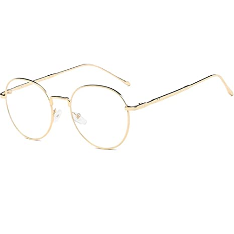 0cbe6656fa3 YUNCAT Unisexe Rétro Rondes Metalique Cadre Frame Lunettes Vintage Verres  Transparent Style Aviateur Pilote Eyeglasses pour Homme et Femme Adultes ...