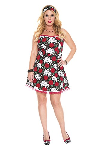 Plus Size Pin Up Halloween Costumes (Music Legs Women's Plus-Size Pin Up Attractive Girl, Red/Black/White, 3X/4X)