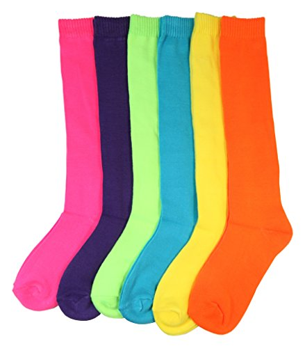 Women/Girl Bright Neon Assorted Color and Striped Knee High Socks 6 Pairs (Solid) -