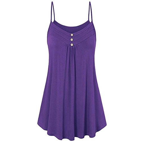 Tops Ladies Womens Vest Vest Purple Tops Cami Shirts Tank T Neck Tops Women Women Blouse Summer Womens V Womens for Button LuckUK Tops Clothes Summer Loose 5YqPg