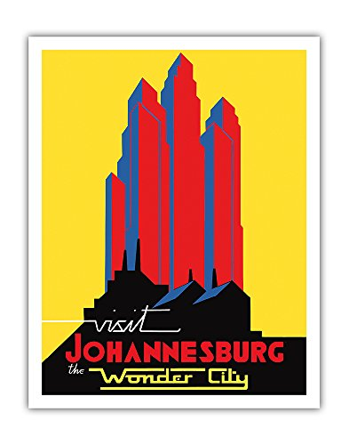 Pacifica Island Art Visit Johannesburg - South Africa - The Wonder City - Vintage World Travel Poster c.1930s - Fine Art Print - 11in x 14in