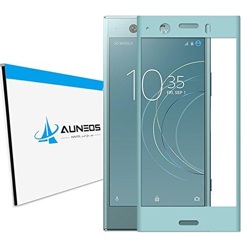 シェル些細過半数『3D全面粘着』AUNEOS Sony Xperia XZ1 Compact フィルム SO-02K ガラスフィルム 自動吸着 3D 曲面 硬度9H ゴリラガラス素材 指紋防止 スクラッチ防止 エクスペリア XZ1 コンパクト 強化フィルム (Xperia XZ1 Compact, Blue)