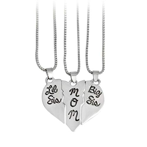 LOSOUL 3pcs Puzzle Matching Big Sis MOM Little Sis Sisters Split Heart Necklace Family Forever Love,Silver
