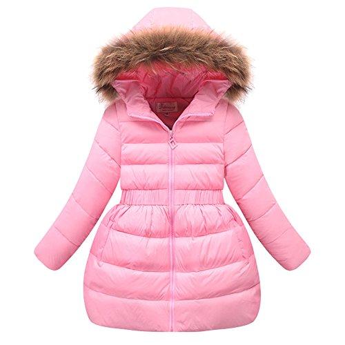 LSERVER Girls Down Jacket Winter Dress Coat 2017 Kids White Duck Down Parkas for Girls with Fur Hood