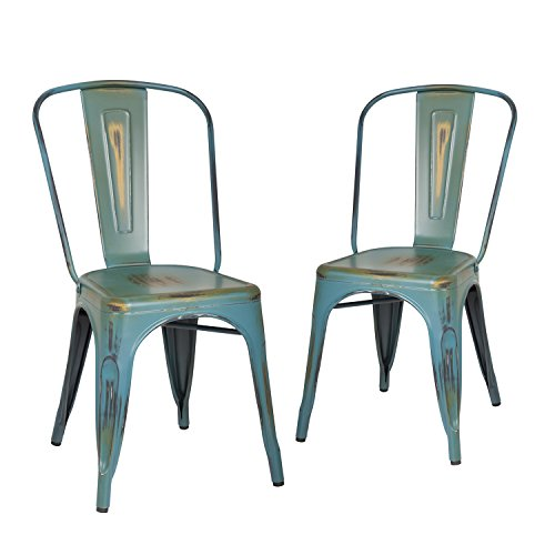 Homebeez Metal Antique Dining Chairs with Back Industrial Chic in ANTIQUE GREEN (Set of 2)