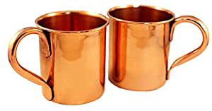 Copper Mugs for Moscow Mules - Set of 2 - 100% Pure Heavy Gauge Copper Moscow Mule Mugs - 15 OZ