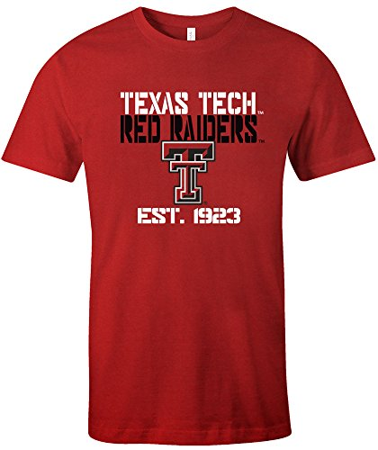 NCAA Texas Tech Raiders Est Stack Jersey Short Sleeve T-Shirt, Red,Large