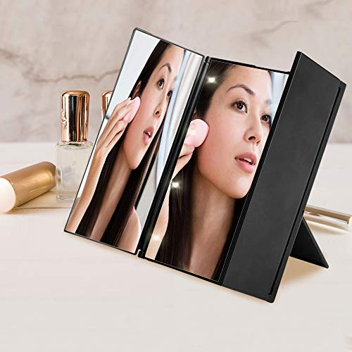 Makeup Vanity Mirror with lights - LED Lights Trifold Vanity Mirror portable - Mirrors Led Bathroom Shaped