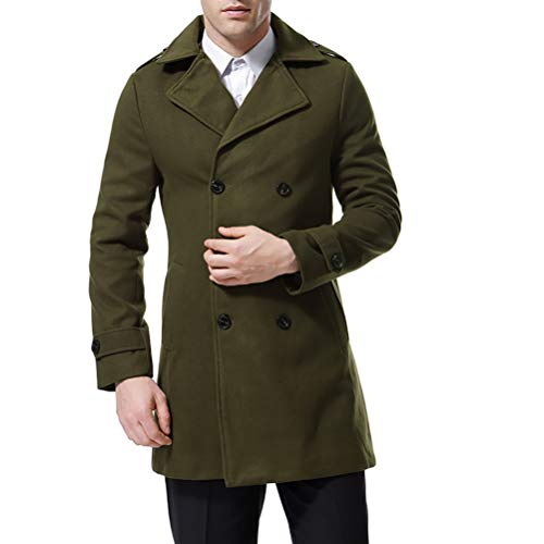 Men's Trenchcoat Double Breasted Overcoat Pea Coat Classic Wool Blend Slim Fit (Large, -