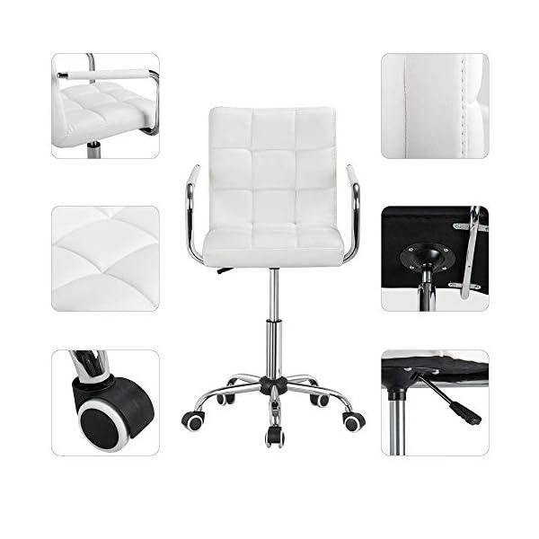 Yaheetech Chaise de Bureau Fauteuil pour Chambre Siège à roulettes Pivotant Réglable Capacité Max.120kg avec Dossier…