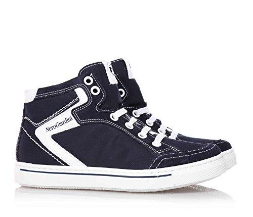 NERO GIARDINI - Zapatilla deportiva azul marino con cordones en gamuza y tela, Niños, Niño, Niños adolescentes