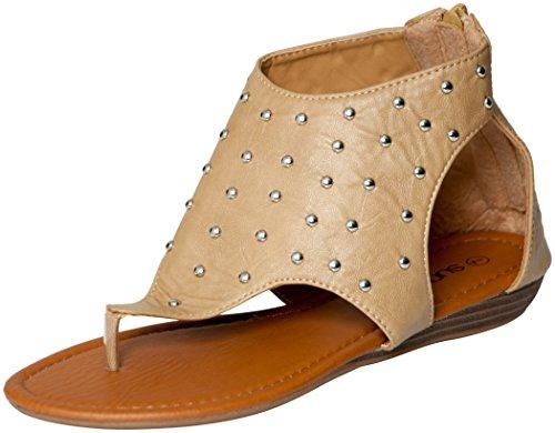Womens Roman Gladiator Sandals Flats Shoes W/Studs (9, Camel 81013)