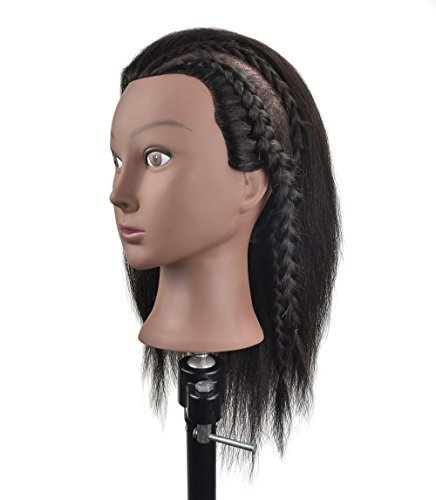 Beauty : Cosmetology 100% Real Hair Mannequin Head Hairdresser Training Head Manikin Doll Head with Free Table Clamp