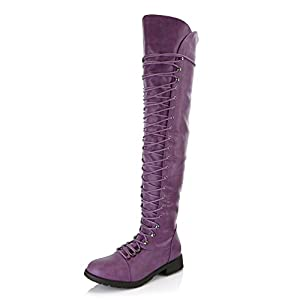 DailyShoes Women's Lace Up Thigh High Boots - Vegan Easy Lace Up Design With Zipper Trendy Mility Style Boot, Purple PU, 10 B(M) US