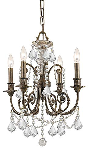 Crystorama 5114-EB-CL-MWP Crystal Accents Four Light Mini Chandeliers from Regis collection in Bronze/Darkfinish,