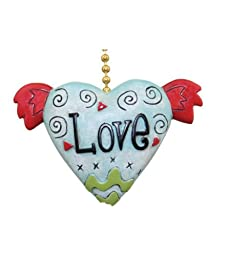 Love Winged Heart Ceiling Fan Light Pull Chain