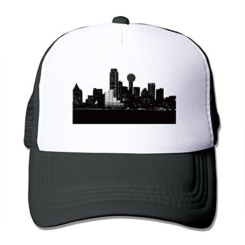 [Dallas City Skylie Silhouette Black Mesh Unisex Adult-one Size Snapback Trucker Hats] (Leopard Cowboy Hat)