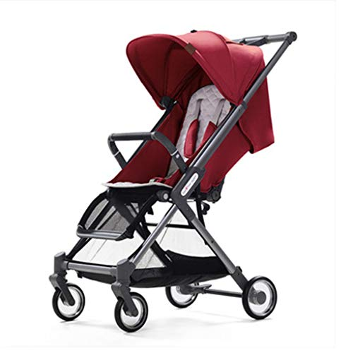 - Baby Stroller, Four-Wheel Shock Absorber Visible Sunroof Pram, Rear Large-Capacity Mummy Bag Pusher Cart YEC-529 (Color : Red)