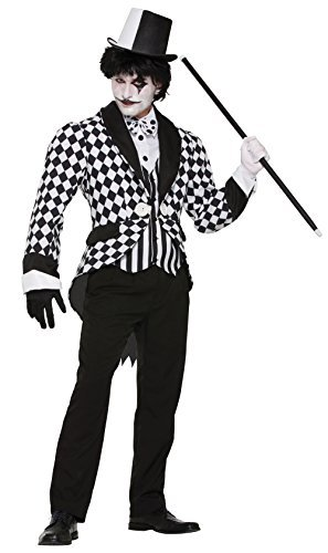 Harlequin Clown Tailcoat Costume for Circus Carnival Cosplay Fancy Dress Outfit by Partypackage Ltd