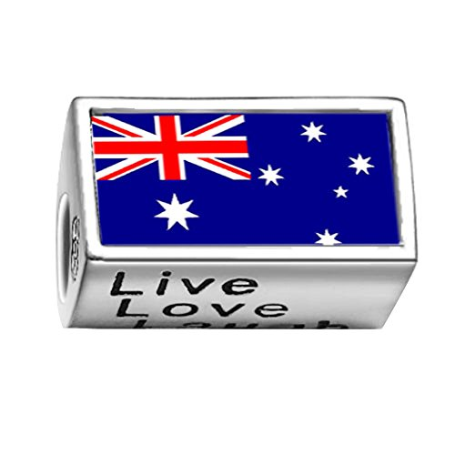 FERVENT LOVE Beads Australia Flag Photo Charm Live Love Laugh for Charm Bracelet Necklace