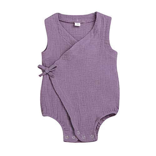 Newborn Infant Baby Girl Romper Linen Bodysuit Sleeveless Open Jumpsuit Clothes Outfits (18-24 Months, Purple)]()