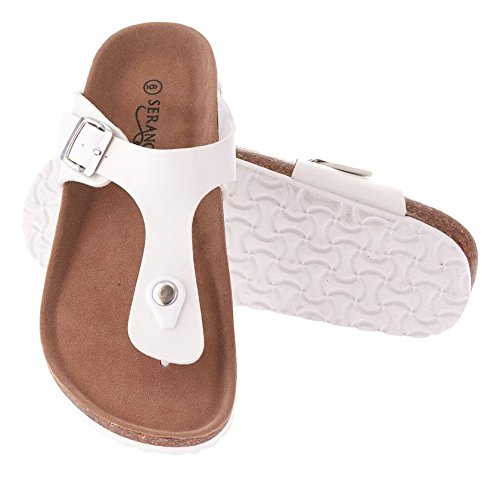 Seranoma Women's Thong Cork Sandal | Open Toe Slide | Flat Footbed White