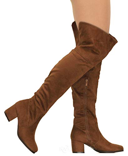 - MVE Shoes Womens Over The Knee Stretch Boot - Trendy Low Block Heel Shoe - Comfortable Easy Heel Boot, Tan 8.5