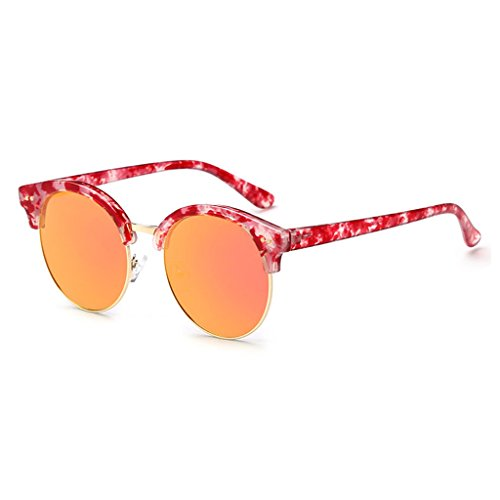 de Black Medio Orange Color Redondas del Gafas polarizadas Gafas reflexivas Unisex Retros Sol Marco de Moolo EwqOS6ZxzS