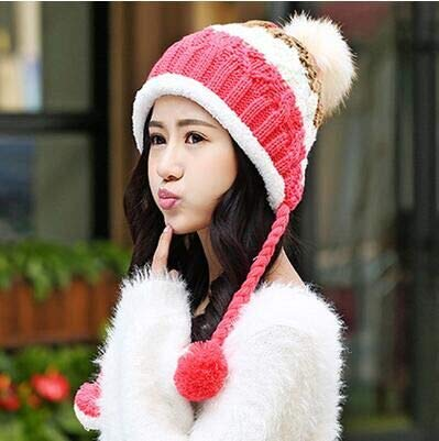 (JINGB Home Female Autumn and Winter hat Sweet Cute Female Wool Knit hat Plus Velvet Thick Warm hat Wild Wool Cap (Color : Red, Size :)