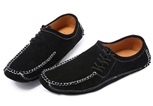 DADAWEN Men's Driving Loafers Moccasin Slippers Deck Boat Shoes Black (Suede) 8gLlznKb