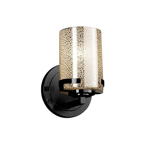 (Fusion - Atlas 1-Light Wall Sconce - Cylinder with Flat Rim Artisan Glass Shade in Mercury - Matte Black Finish)