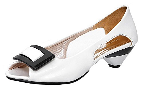 AmoonyFashion Women's Solid Patent Leather Low-Heels Peep-Toe Pull-On Sandals, BUSLS004998, White, 40