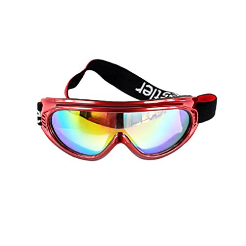 (BXT Kid UV400 Ski Snow Googles Outdoor Sun Glasses Windproof Motorcycle Snowmobile Snowboard Airsoft Paintball Eyewear Goggles Protective Safety Glass Sunglasses UV Protection Sports Ski Goggles - Red)