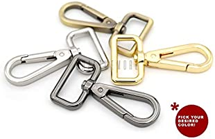 5//8 Inch, Brushed Brass CRAFTMEmore 2pcs Mini Swivel Clasps Push Gate Snap Hook Lobster Claw Landyard Clip Purse Accessories 2 Long Pick Variations!