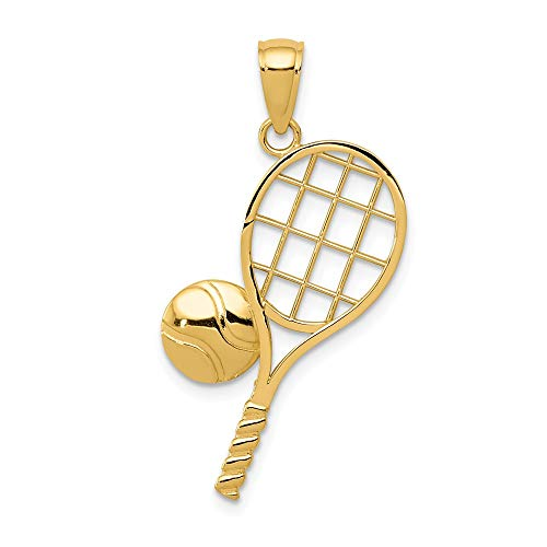 (14k Yellow Gold Tennis Racquet Pendant Charm Necklace Sport Tennis/racquet Man Fine Jewelry Gift For Dad Mens For Him)