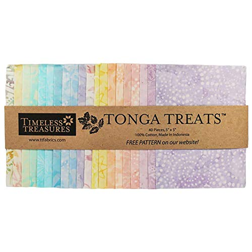 Tonga Treats Batiks Buttercream Minis 40 5-inch Squares Charm Pack Timeless Treasures Fabrics ()