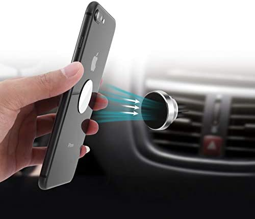 Magnetic Telephone Automobile Mount, [Super Strong Magnet ] 2 Metallic Plate Common Air Vent Stand 360° Rotation GPS Automobile Telephone Holder Appropriate with Apple for iPhone, for Samsung LG,Mini Pill All Cell Telephones