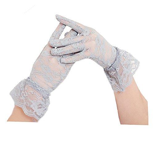 Vintage Short Lace Gloves for Women Derby Tea Party Wrist Length Floral Gloves for Wedding Costume Gloves (Grey)