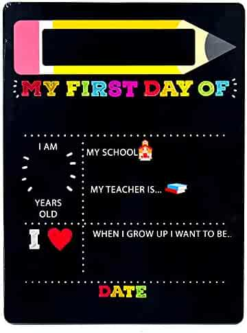 Horizon Group USA My First & Last Day of School Wooden Chalk Board, 12 X 16 Photo Prop Reusable Easy to Clean Chalkboard Sign. Back to School Essential