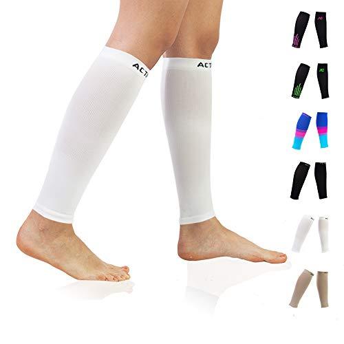 (Compression Calf Sleeves (20-30mmHg) for Men & Women- Leg Compression Socks for Shin Splint,Running,Medical, Travel, Nursing (White, Medium))
